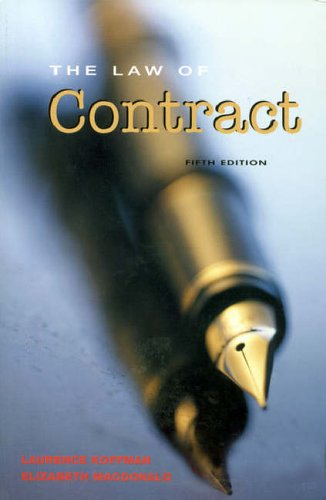 The Law of Contract By Laurence Koffman