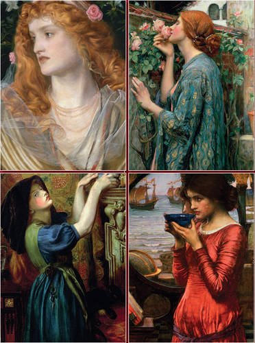 Set of Four Magnetic Notepads: Pre-Raphaelites By Created by Peony Press
