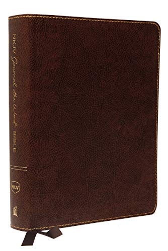 NKJV, Journal the Word Bible, Bonded Leather, Brown, Red Letter, Comfort Print By Thomas Nelson