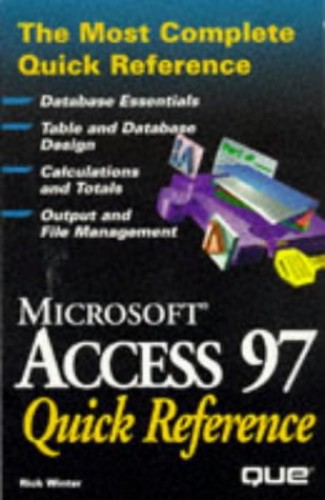 Access 97 Quick Reference By Que Development Group