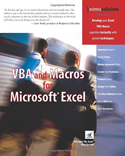 VBA and Macros for Microsoft Excel (Business Solutions) By Bill Jelen