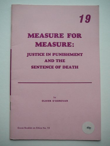 Measure for Measure By Oliver O'Donovan