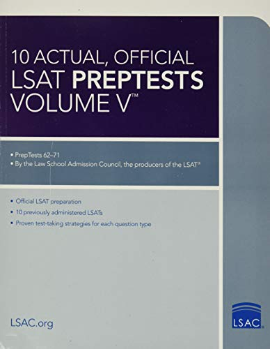 10 Actual, Official LSAT Preptests Volume V By Law School Admission Council
