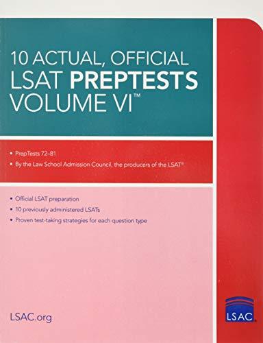 10 Actual, Official LSAT Preptests Volume VI By Law School Council