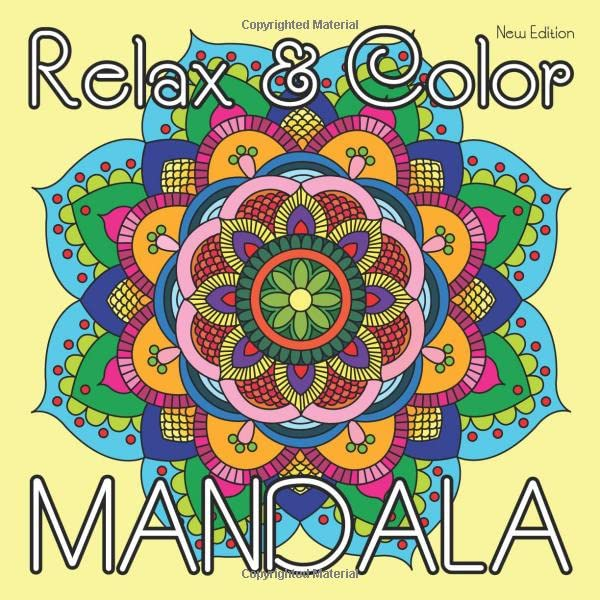 Relax & Color MANDALA (New Edition): 40 Hand Drawn Coloring Mandalas for Adults Relaxation on Square Format (8.5 x 8.5 inch) (Mandala Coloring Book) By Sunlife Drawing