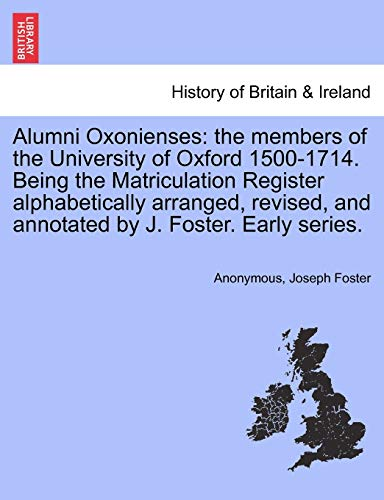 Alumni Oxonienses By Anonymous