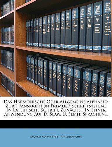 Das Harmonische Oder Allgemeine Alphabet By Created by Andreas August Ernst 17 Schleiermacher