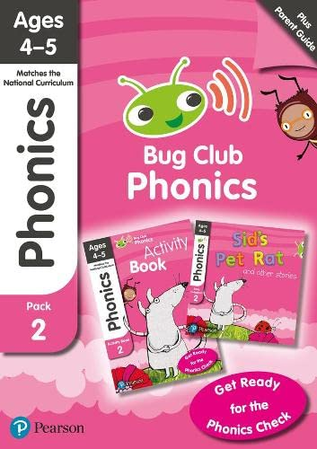 Phonics - Learn at Home Pack 2 (Bug Club), Phonics Sets 4-6 for ages 4-5 (Six stories + Parent Guide + Activity Book) By Rhona Johnston