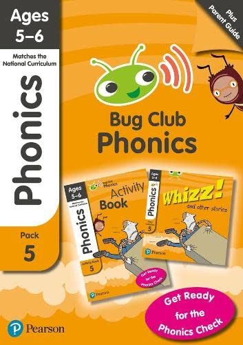 Phonics - Learn at Home Pack 5 (Bug Club), Phonics Sets 13-26 for ages 5-6 (Six stories + Parent Guide + Activity Book) By Rhona Johnston