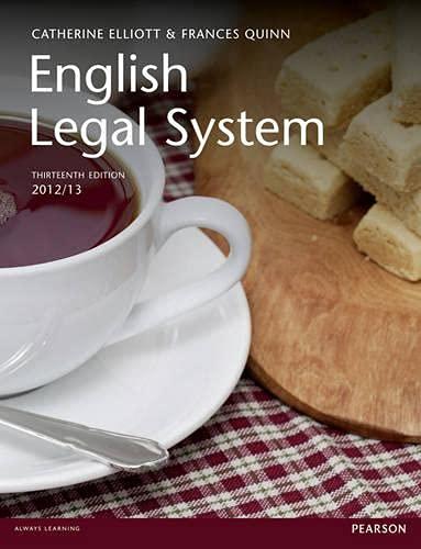 English Legal System By Catherine Elliott