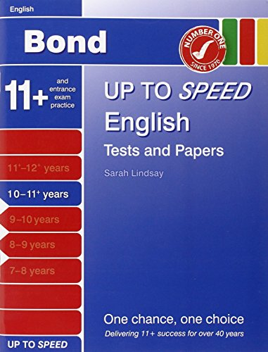 Bond Up to Speed English Tests and Papers 10-11+ Years By Alison Primrose