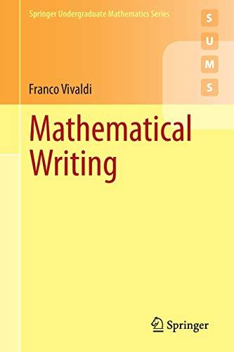 Mathematical Writing By Franco Vivaldi