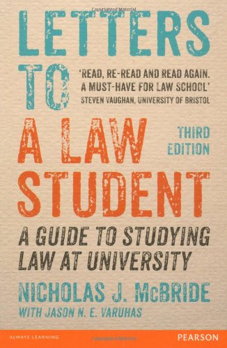 Letters to a Law Student 3rd edn By Nicholas J. Mcbride