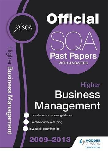 SQA Past Papers 2013 Higher Business Management by SQA