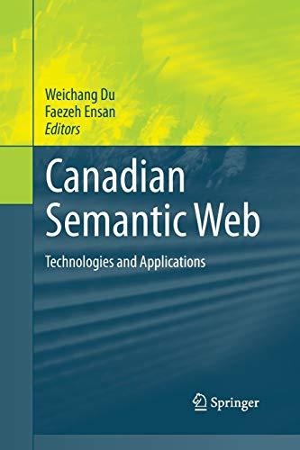 Canadian Semantic Web By Weichang Du