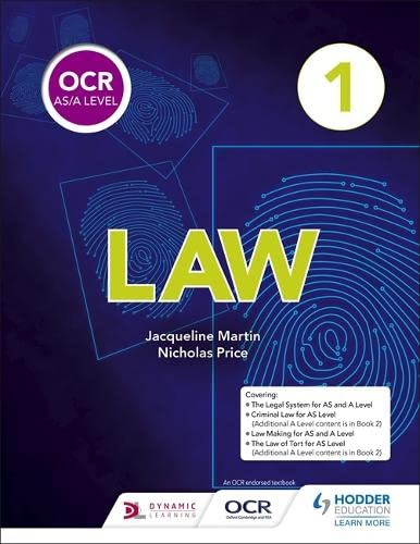 OCR AS/A Level Law Book 1 By Jacqueline Martin