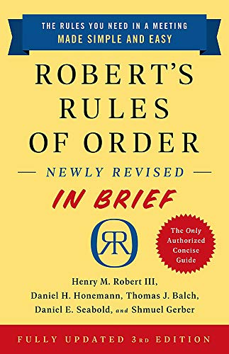 Robert's Rules of Order Newly Revised In Brief, 3rd edition By Henry Robert Robert, III