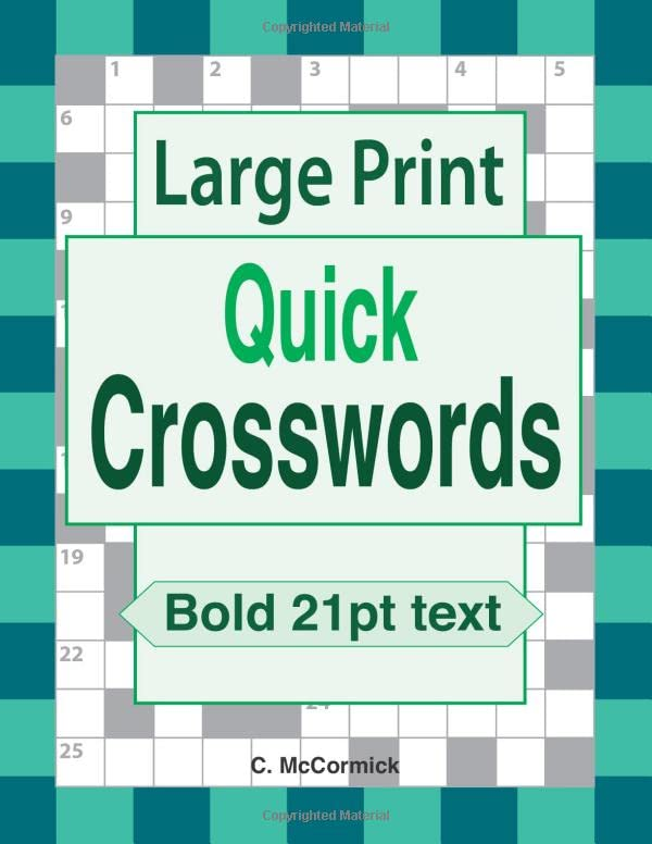 Large Print Quick Crosswords By C McCormick