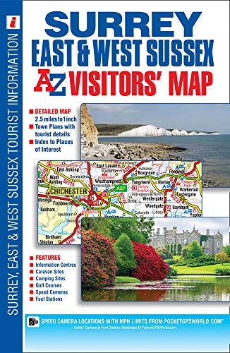 Surrey, East & West Sussex A-Z Visitors' Map By A-Z maps