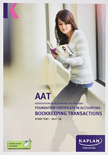 Bookkeeping Transactions - Study Text By Kaplan Publishing