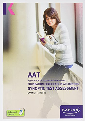 Foundation Certificate in Accounting Synoptic Test Assessment By Kaplan Publishing