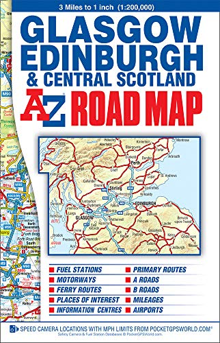 Central Scotland Road Map By A-Z maps