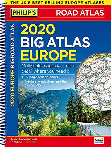 Philip's Big Road Atlas Europe: Spiral A3: (A3 Spiral binding) (Philips Road Atlas) By Philip's Maps