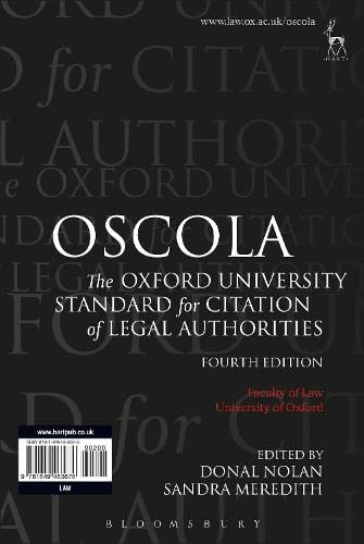Oscola: The Oxford University Standard for Citation of Legal Authorities By Edited by Donal Nolan