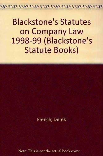 Blackstone's Statutes on Company Law By Derek French