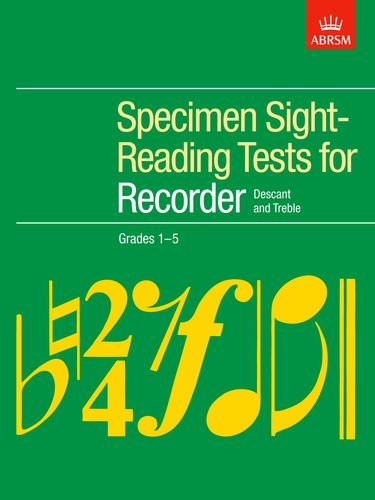 Specimen Sight-Reading Tests for Recorder, Grades 1-5 By Paul Harris