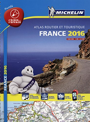 France 2016 Atlas - Laminated A4 Spiral By Michelin
