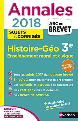 Annales Brevet - Histoire Géo 3e - EMC - 2018 By Pascal Jezequel