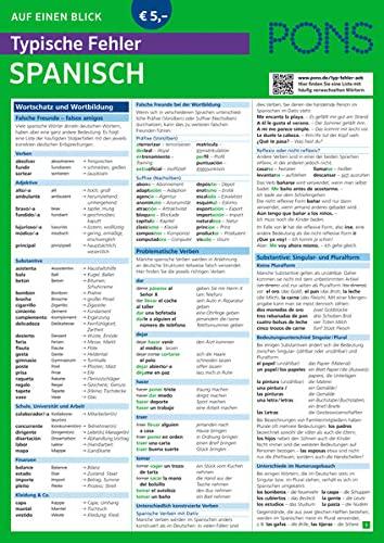 PONS Auf einen Blick Typische Fehler Spanisch: Alle wichtigen Regeln - einfach und verständlich