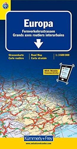 European Main Roads - Europe Road Map By Hallwag Kummerly & Frey AG