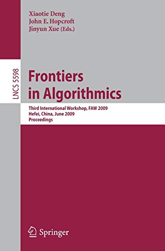 Frontiers in Algorithmics By Xiaotie Deng