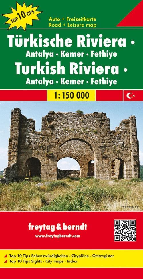 Turkish Riviera - Antalya - Kemer - Fethiye Road Map 1:150 000 By Freytag & Berndt