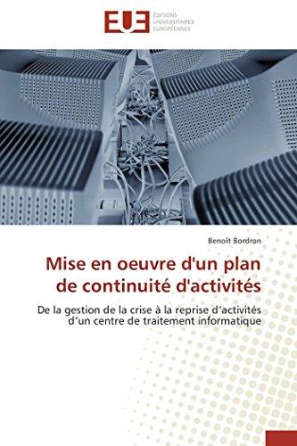 Mise En Oeuvre d'Un Plan de Continuit  d'Activit s By Bordron-B