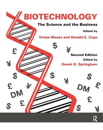 Biotechnology - The Science and the Business By Edited by Derek G. Springham (Queen Mary and Westfield College, University of London, UK)