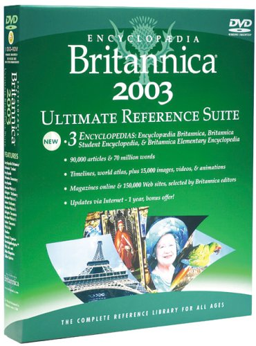 Encyclopaedia Britannica 2003 Ultimate Reference Suite DVD 2003 By Created by Pearson Software