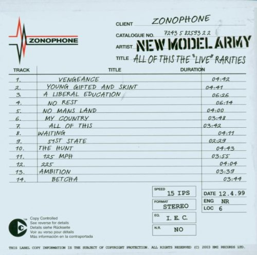 NEW MODEL ARMY - All of This Live Rarities