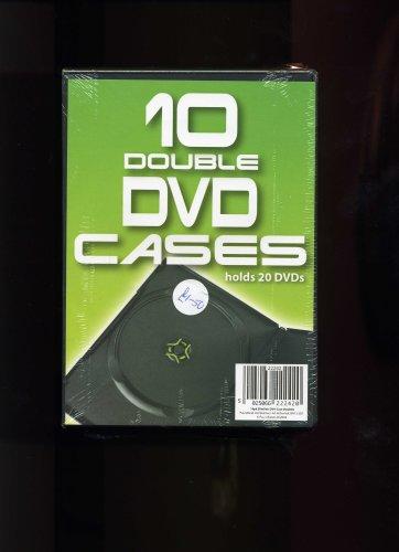 10-SLIMLINE-DOUBLE-DVD-CASES-Holds-20-DVD-039-s-CD-42VG-FREE-Shipping
