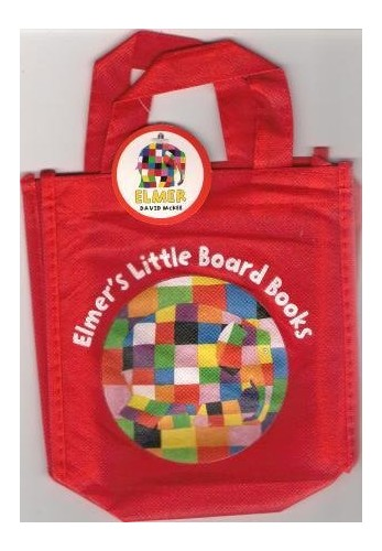 ELMER'S LITTLE BOARD BOOKS - 4 little board books in carry bag: Elmer's Friends, Elmer's Colours, Elmer's Weather and Elmer's Day. RRP £15.96 By David McKee