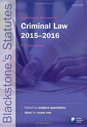 Blackstone's Statutes on Criminal Law: 2015-2016 by Peter Glazebrook