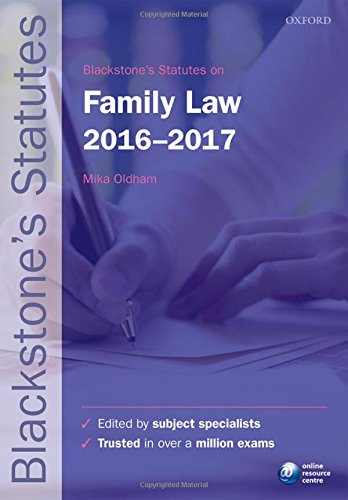 Blackstone's Statutes on Family Law 2016-2017 by Dr. Mika Oldham