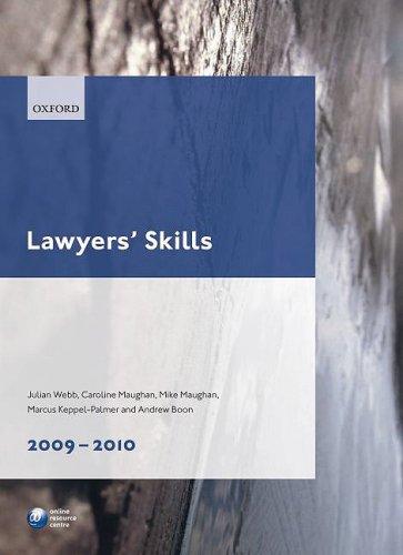 Lawyers' Skills: 2009-2010 by Julian Webb